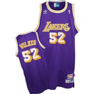 Adidas NBA Maillots De Basket Jamaal Wilkes LA Lakers Homme No.52 Violet Throwback