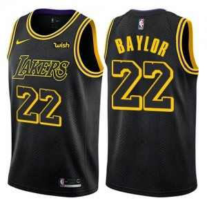 Maillots Basket Elgin Baylor Lakers Enfant City Edition Nike Noir No.22