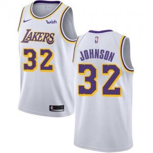 Nike Maillots Magic Johnson LA Lakers Association Edition Enfant Blanc No.32