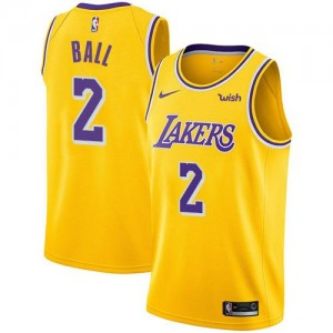 Maillots De Ball Lakers No.2 Nike Enfant or Icon Edition