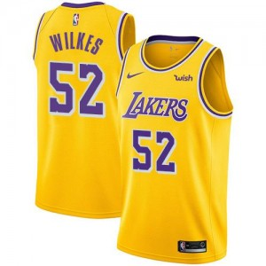 Nike Maillot Jamaal Wilkes Los Angeles Lakers Enfant or Icon Edition No.52