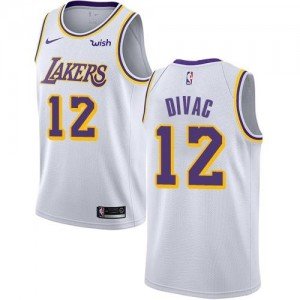 Nike Maillots Basket Vlade Divac LA Lakers Blanc No.12 Enfant Association Edition