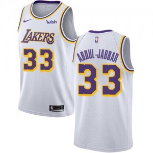 Nike Maillots Abdul-Jabbar LA Lakers Blanc No.33 Enfant Association Edition