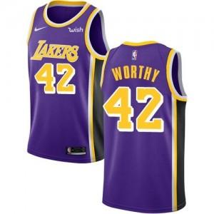 Nike NBA Maillots Basket Worthy LA Lakers Violet Enfant #42 Statement Edition