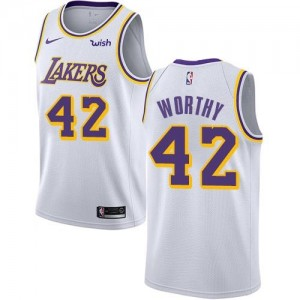 Nike NBA Maillot De James Worthy Los Angeles Lakers Enfant Blanc Association Edition No.42