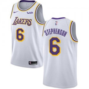 Maillots Basket Lance Stephenson LA Lakers No.6 Blanc Enfant Nike Association Edition