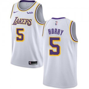 Maillot De Basket Horry Lakers Blanc #5 Nike Enfant Association Edition