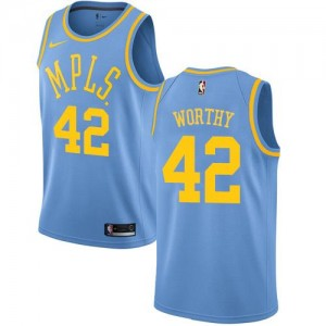 Nike NBA Maillots Basket Worthy LA Lakers No.42 Bleu Enfant Hardwood Classics