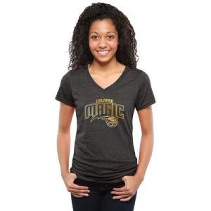 T-Shirt Magic Femme Noir Gold Collection V-Neck Tri-Blend