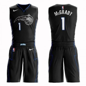 Maillots De Basket Tracy Mcgrady Magic Homme Nike #1 Suit City Edition Noir
