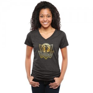 Tee-Shirt Basket Dallas Mavericks Gold Collection V-Neck Tri-Blend Noir Femme