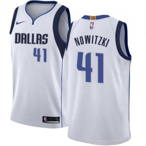 Nike NBA Maillots De Dirk Nowitzki Dallas Mavericks #41 Blanc Association Edition Enfant