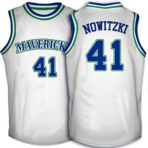 Maillot Nowitzki Dallas Mavericks Blanc No.41 Homme Throwback Adidas