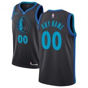 Nike Personnalisé Maillot Basket Mavericks Noir de carbone Enfant City Edition