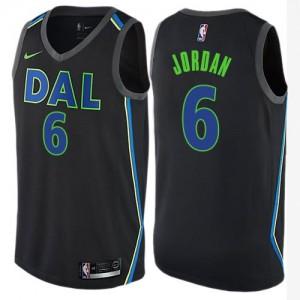 Nike NBA Maillots DeAndre Jordan Dallas Mavericks #6 Noir City Edition Enfant