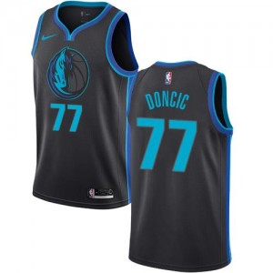 Nike NBA Maillot Basket Luka Doncic Mavericks City Edition Enfant Noir de carbone No.77