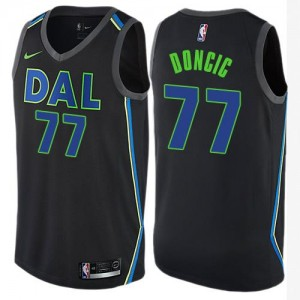 Maillots Basket Luka Doncic Dallas Mavericks #77 Enfant Noir City Edition Nike