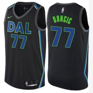 Maillots Basket Luka Doncic Dallas Mavericks #77 Enfant Noir City Edition Nike