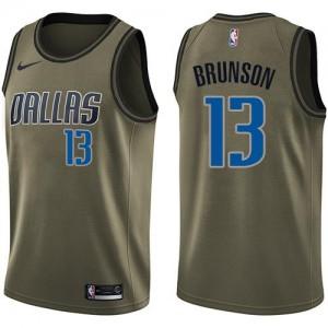 Nike NBA Maillots Basket Jalen Brunson Mavericks vert Homme No.13 Salute to Service