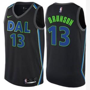 Nike Maillots Basket Jalen Brunson Mavericks City Edition Noir #13 Homme