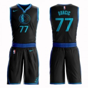 Nike Maillot De Luka Doncic Dallas Mavericks Homme Suit City Edition No.77 Noir