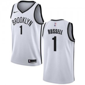 Nike Maillot De Basket D'Angelo Russell Nets Blanc Enfant Association Edition #1