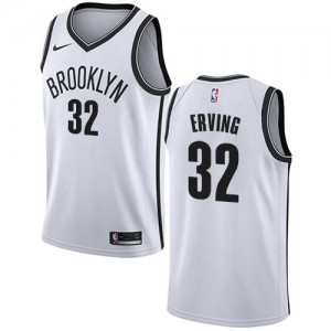 Nike NBA Maillots Basket Erving Nets Association Edition #32 Enfant Blanc