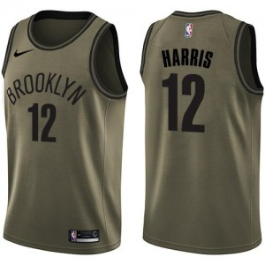 Maillots Basket Harris Nets Nike vert Homme #12 Salute to Service