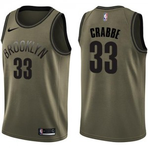 Nike NBA Maillots De Crabbe Brooklyn Nets Homme vert #33 Salute to Service