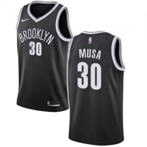 Maillot Musa Brooklyn Nets #30 Homme Nike Icon Edition Noir
