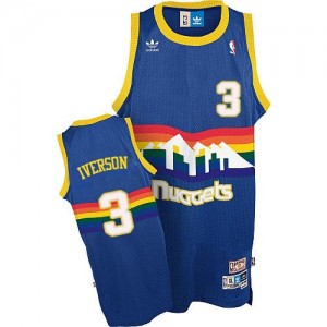 Adidas Maillot De Basket Allen Iverson Nuggets #3 Homme Bleu clair Throwback