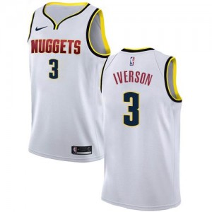 Nike Maillots Iverson Nuggets Association Edition #3 Enfant Blanc
