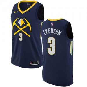 Nike NBA Maillots Iverson Nuggets No.3 City Edition bleu marine Homme