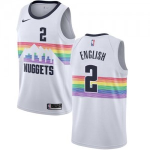 Nike NBA Maillot Basket Alex English Denver Nuggets No.2 Blanc Enfant City Edition