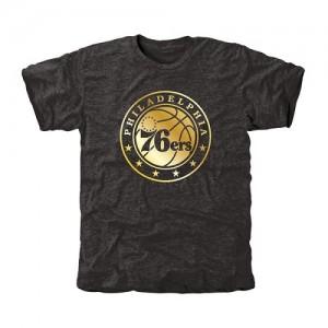 Tee-Shirt De Basket Philadelphia 76ers Homme Noir Gold Collection Tri-Blend