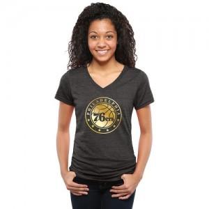 T-Shirt De Basket Philadelphia 76ers Femme Gold Collection V-Neck Tri-Blend Noir