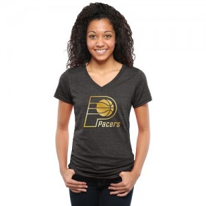 NBA T-Shirt De Indiana Pacers Gold Collection V-Neck Tri-Blend Femme Noir