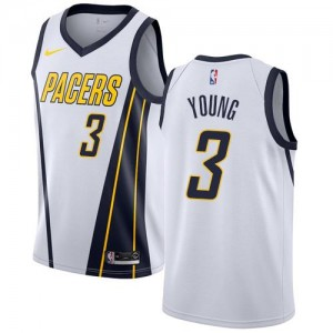 Maillots Basket Young Pacers Blanc No.3 Nike Homme Earned Edition