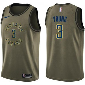 Maillots De Young Pacers vert Nike Homme #3 Salute to Service