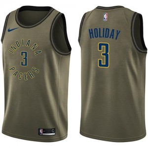 Maillots De Aaron Holiday Pacers Homme #3 vert Nike Salute to Service
