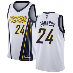 Nike Maillots Johnson Pacers Blanc Earned Edition #24 Homme