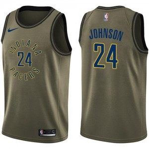 Nike Maillots Basket Alize Johnson Indiana Pacers #24 vert Salute to Service Homme