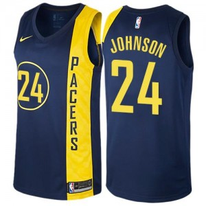 Nike NBA Maillots De Basket Johnson Pacers No.24 Homme bleu marine City Edition