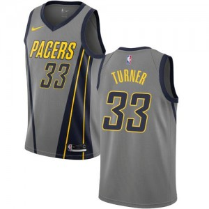 Nike NBA Maillots Turner Pacers Enfant No.33 Gris City Edition