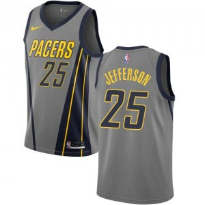Nike Maillots Basket Jefferson Indiana Pacers Gris No.25 City Edition Homme