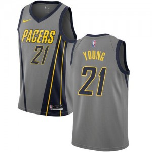 Nike Maillot Thaddeus Young Pacers Gris No.21 Enfant City Edition
