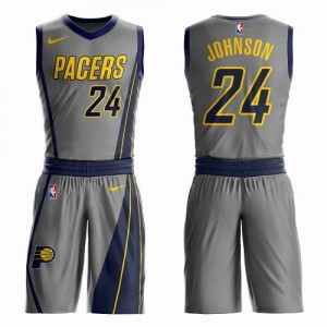 Nike NBA Maillots De Alize Johnson Indiana Pacers #24 Homme Gris Suit City Edition