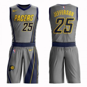 Nike NBA Maillots Basket Jefferson Pacers Gris Homme #25 Suit City Edition