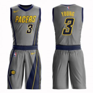Maillot De Basket Joe Young Indiana Pacers Homme Nike No.3 Suit City Edition Gris