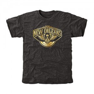 Tee-Shirt New Orleans Pelicans Homme Noir Gold Collection Tri-Blend